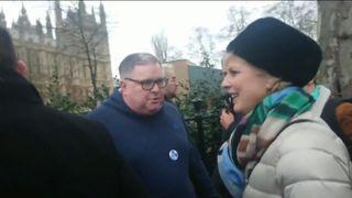 Die konservative Parlamentsabgeordnete Anna Soubry trifft auf Demonstranten außerhalb des Parlaments