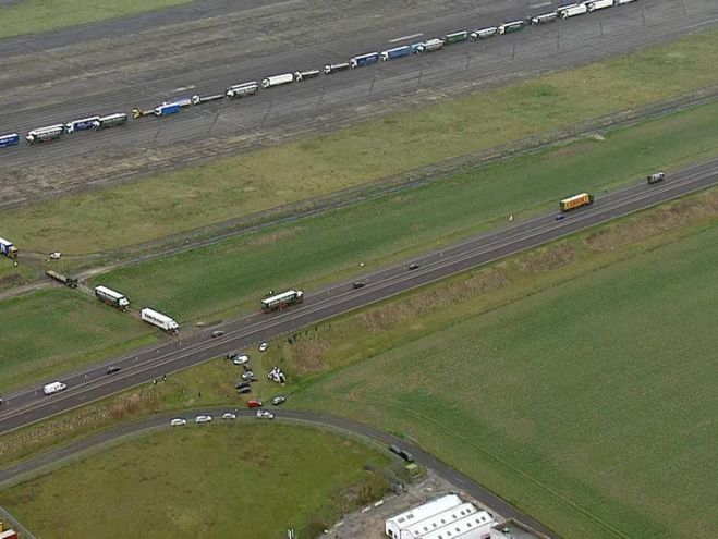 Lorries parked in a queue during a trial at the former Manston Airport site in Kent