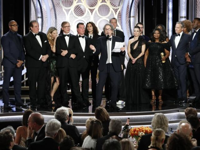 Director Peter Farrelly and the Green Book cast on stage at the Golden Globes 2019
