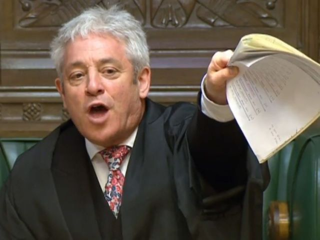 Speaker John Bercow speaks during Prime Minister's Questions in the House of Commons before the SNP's Westminster leader Ian Blackford was kicked out of Commons sittings for the rest of the day after repeatedly challenging him