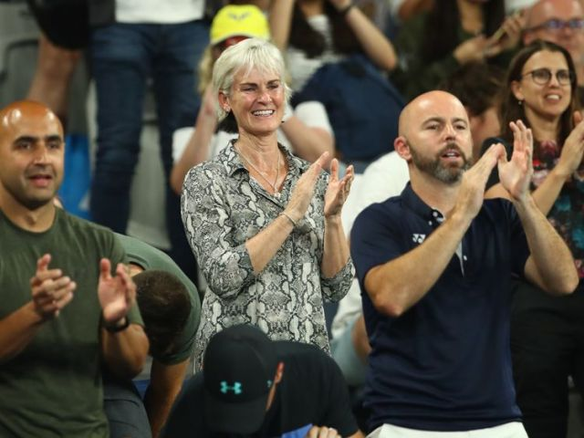 Judy Murray watches her youngest son at the Australian Open