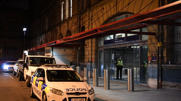 The stabbing happened at Manchester Victoria station
