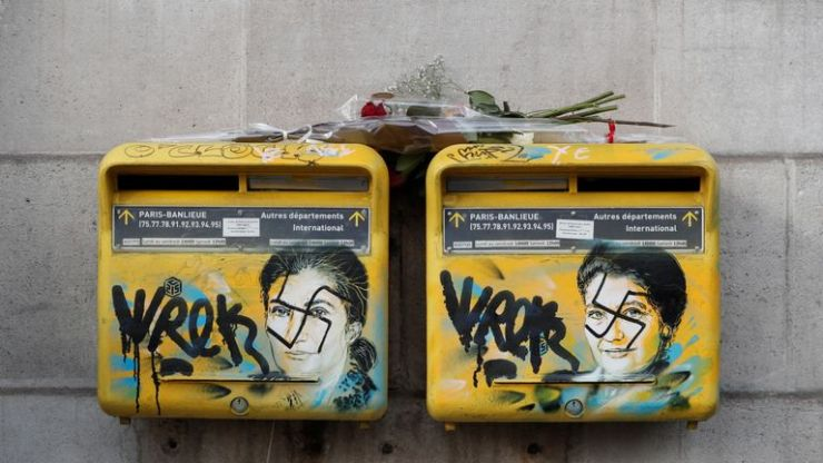 Earlier this month mailboxes with Holocaust survivor and politician Simone Veil on were vandalised