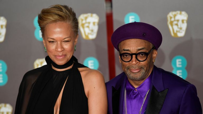 Spike Lee and Tonya Lewis Lee arrive at the British Academy of Film and Television Awards