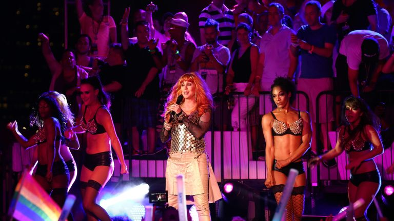 Cher performs at Dance on the Pier during NYC Pride 2013>> on June 30, 2013 in New York City.