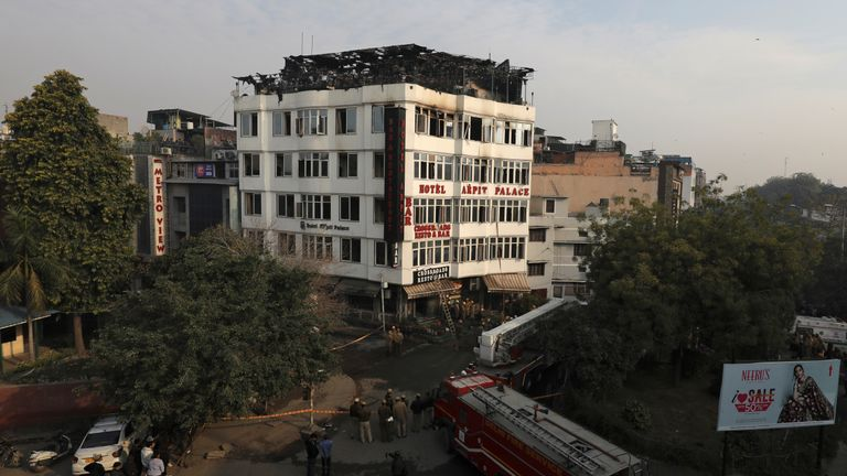 An investigation is underway as to what caused the blaze at the Arpit Palace Hotel