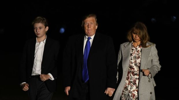 President Trump arrived back at the White House on Monday after a day of protests across the country