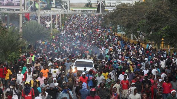 Hundreds of thousands of people have been on the streets of Port-au-Prince