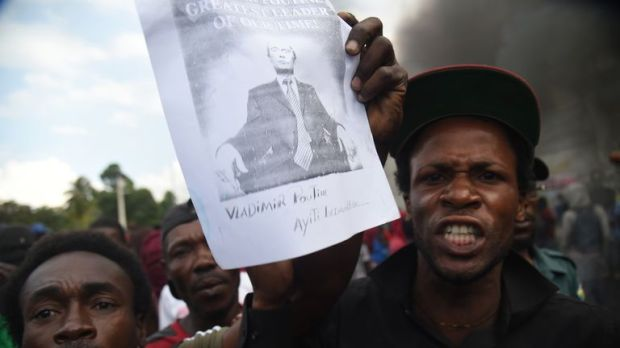 Some protesters in Port-au-Prince shouted 'Long live Putin, down with the Americans'
