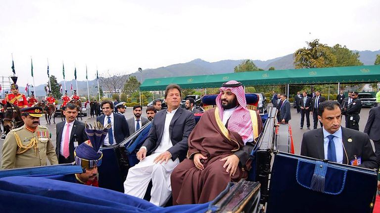 Pakistani Prime Minister Imran Khan accompanies Prince Mohammed on a carriage ride