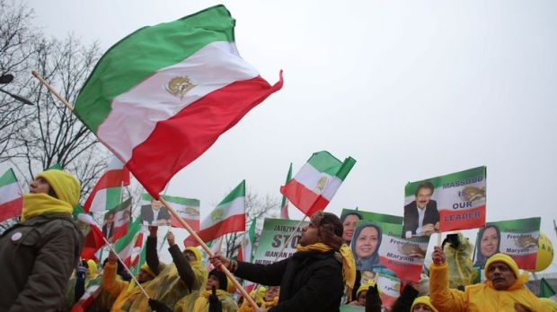 Iranian communities in Europe hold a rally to protest against Iranian government's human rights violations