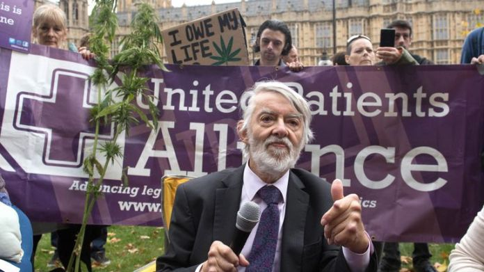Labor MP Paul Flynn speaking at a cannabis tea party held by the United Patients Alliance outside the Houses of Parliament in London on February 17, 2019