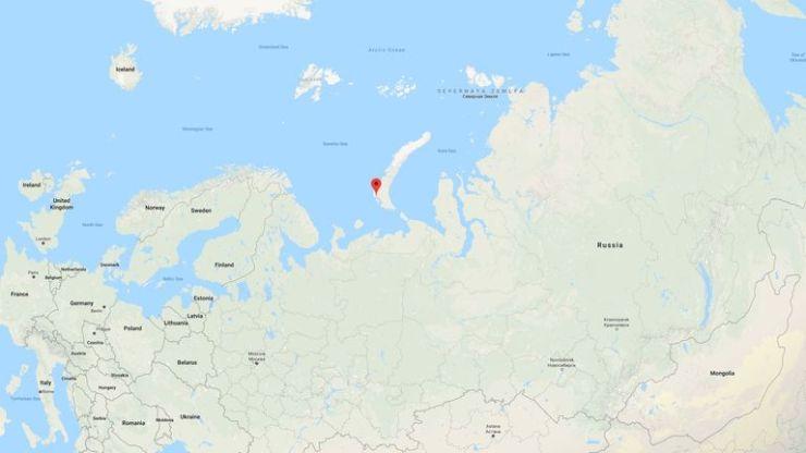 The red pin marks Belushya Guba on the archipelago of Novaya Zemlya. Pic: Google