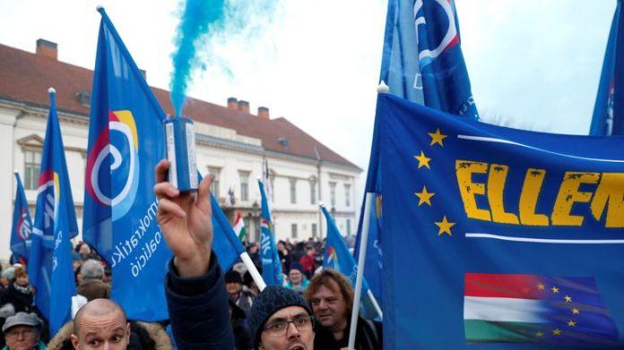 Anti-Orban protestors blocked a bridge across the Danube River