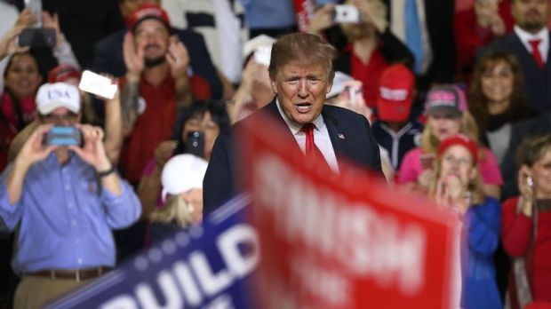 President Donald Trump speaks during a rally at El Paso