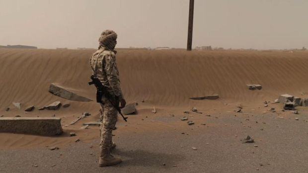 A coalition soldier in Yemen