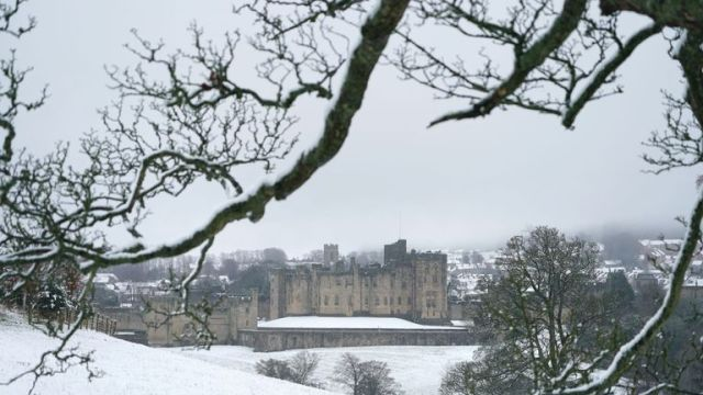 Snow at Alnwick Castle in Northumberland