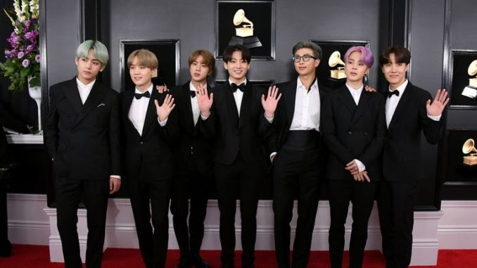 BTS attend the 61st Annual GRAMMY Awards
