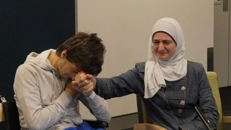 Salwa Mustafa lost her husband Khaled and son Hamza. Her other son Zaid was wounded