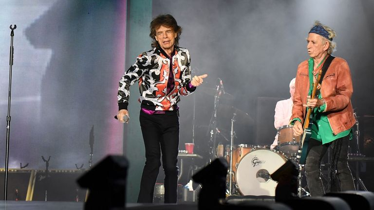 (L/R): British musicians Ronnie Wood, Mick Jagger and Keith Richards of The Rolling Stones perform a concert at The Velodrome Stadium in Marseille on June 26, 2018, as part of their 'No Filter' tour (Photo by Boris HORVAT / AFP) (Photo credit should read BORIS HORVAT/AFP/Getty Images)