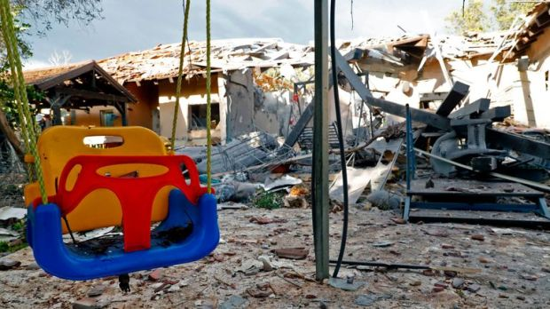A general view shows a damaged house after it was hit by a rocket in the village of Mishmeret, north of Tel Aviv on March 25, 2019