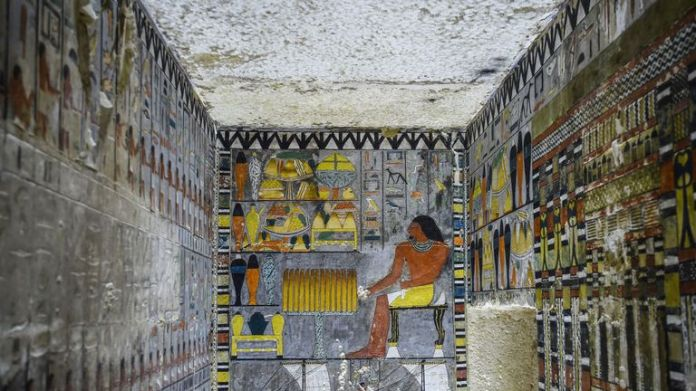 The tomb is built from white limestone bricks