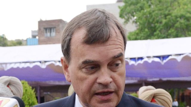British High Commissioner to India Dominic Asquith speaks to the media in Amritsar