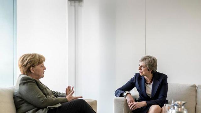 Angela Merkel and Theresa May met in Berlin to discuss Brexit