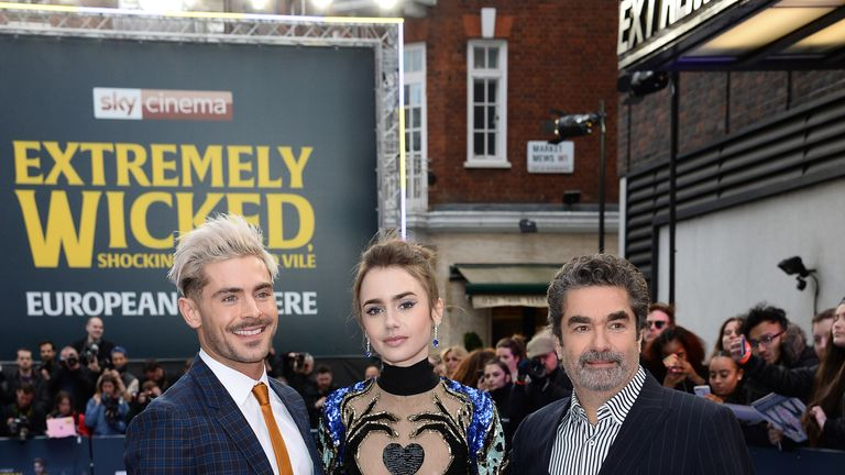 Zac Efron, Lily Collins and director Joe Berlinger at the European premiere