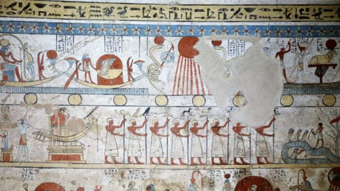 Some of the artwork on the walls of the tomb. Pic: Egypt Ministry of Antiquities