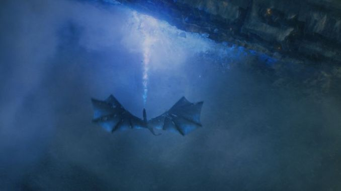 The Ice King destroying the wall on a dragon in series seven of Game Of Thrones. Pic: Sky Atlantic/ HBO