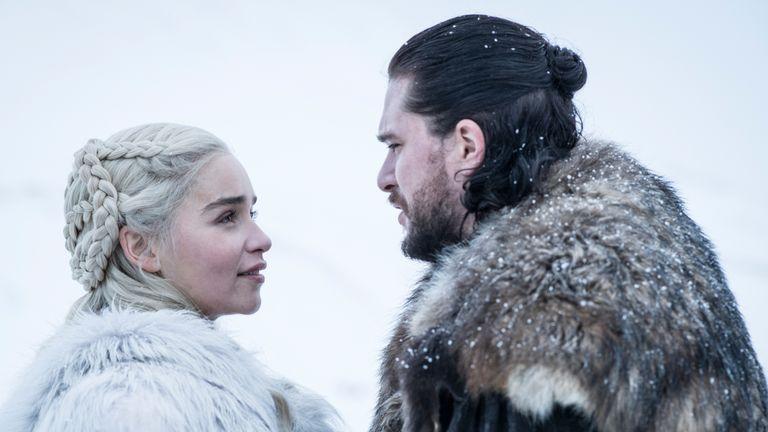 Kit Harington as Jon Snow ABD Emilia Clarke as Daenerys Targaryen in the final season of Game Of Thrones. Pic: Sky Atlantic/ HBO