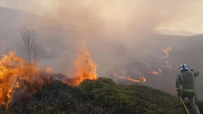 Varios acres de páramo estaban en llamas. Pic: Martyn Hughes