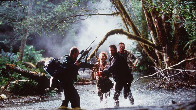 Jeff Goldblum (2ndR) in a scene from The Lost World: Jurassic Park