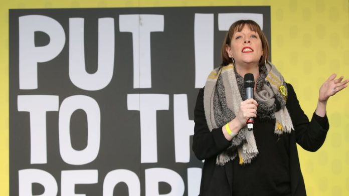 British opposition Labor MP Jess Phillips speaks on March 23, 2019, on an election campaign organized by the pro-European population for a second EU referendum in Parliament Square in central London. Hundreds of thousands of pro-Europeans The UK was expected to march through London on Saturday and called for another referendum on EU membership.