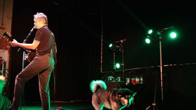 Peter Doherty performs on stage with his husky dogs in Newcastle , January 2019