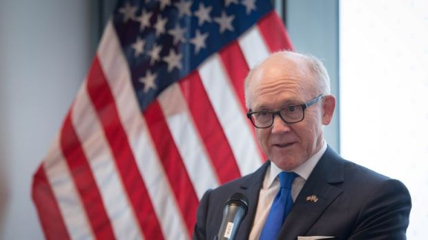 US ambassador Woody Johnson speaks during a press preview at the new United States embassy building