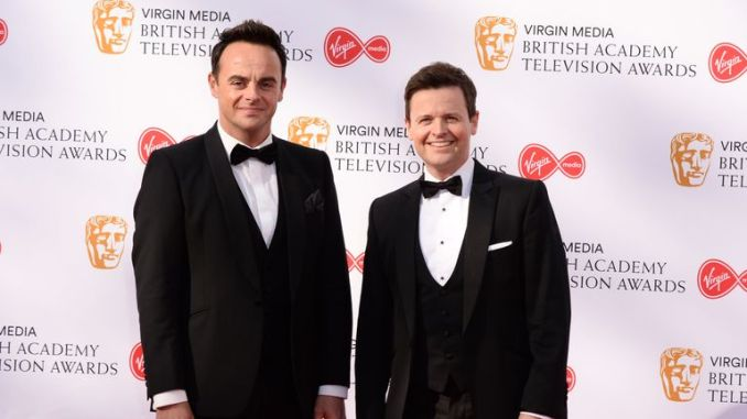 Anthony McPartlin (L) and Declan Donnelly on the red carpet ahead of the awards