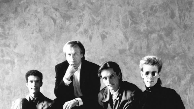 English pop, jazz-funk band Level 42. (l-r) Mike Lindup, Mark King, Boon Gould and Philip Gould.