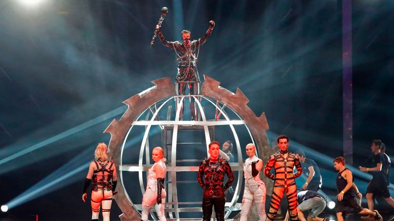 Iceland's anti-capitalist band Hatari waved Palestine flags during the broadcast