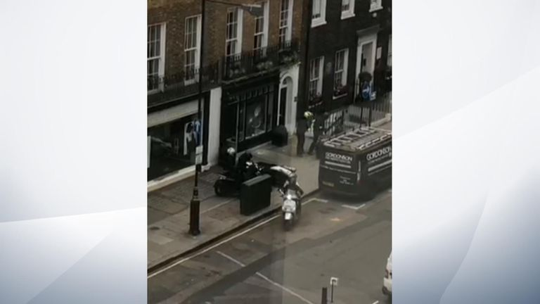 Video footage filmed from across the road on Duke Street showed six people racing off on three mopeds.