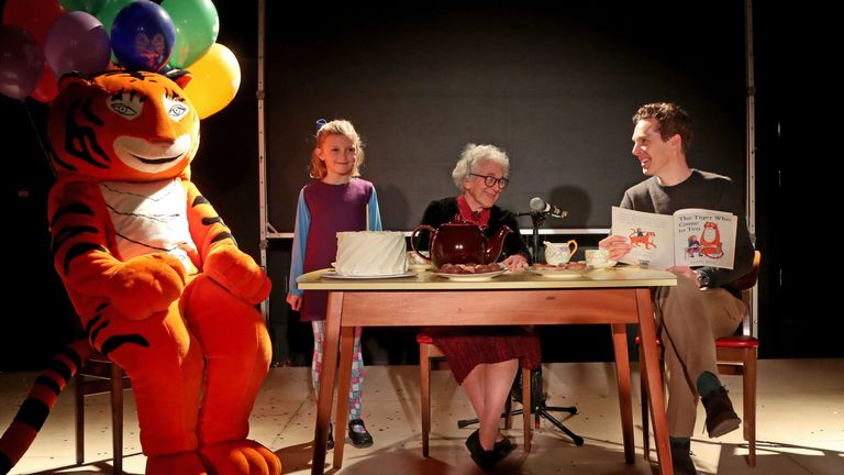 Judith Kerr and Benedict Cumberbatch during a reading of The Tiger Who Came To Tea
