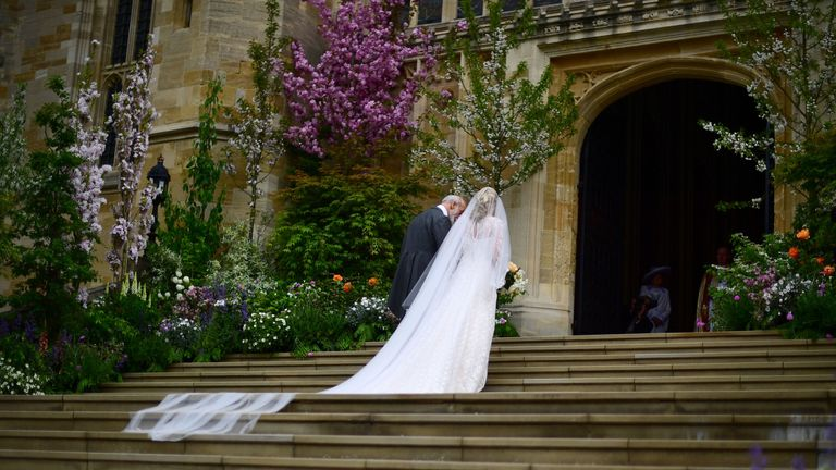 Lady Gabriella Windsor and her father Prince Micahel of Kent arrive at St George's Chapel in Windsor Castle, for her wedding to Thomas Kingston