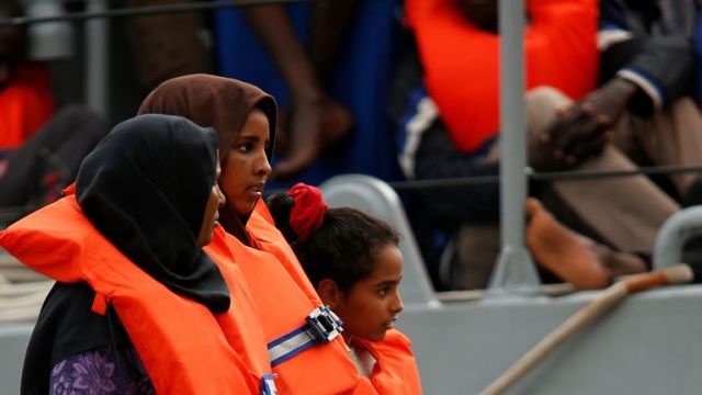 Migrants disembark from an Armed Forces of Malta patrol boat at its base in Marsamxett Harbour, Valletta, Malta May 25, 2019. REUTERS/Darrin Zammit Lupi