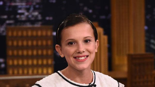 Millie Bobby Brown on The Tonight Show Starring Jimmy Fallon in 2016 while starring in Stranger Things