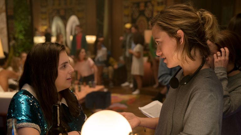 Beanie Feldstein and director Olivia Wilde on the set of her directorial debut, BOOKSMART, an Annapurna Pictures release..Credit: Francois Duhamel / Annapurna Pictures.