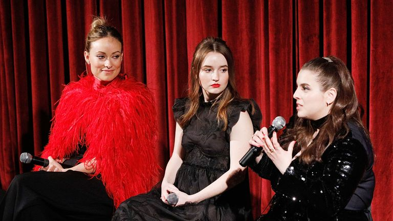 """Actor, director and producer Olivia Wilde and actors Kaitlyn Dever and Beanie Feldstein on stage during The Academy of Motion Picture Arts and Sciences official Academy screening of """"Booksmart"""" at the MoMA, Celeste Bartos Theater on May 21, 2019 in New York City.  (Photo by Lars Niki/Getty Images for The Academy Of Motion Picture Arts & Sciences)"""