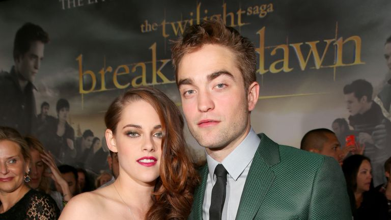 Robert Pattinson and his Twilight co-star Kristen Stewart at the premiere of Breaking Dawn - Part 2 in 2012