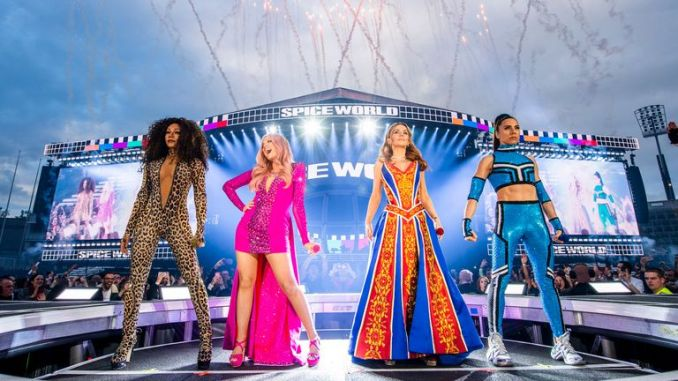 Spice Girls on the stage for their first 2019 reunion gig in Dublin. Pic: Andrew Timms/PA Wire