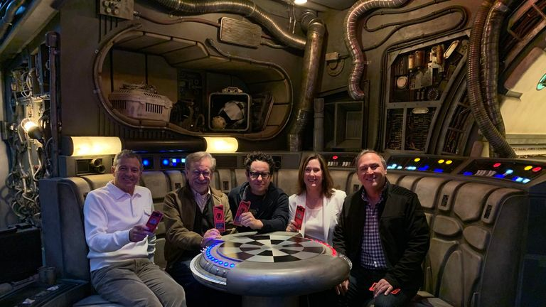 JJ Abrams, Steven Spielberg, Kathy Kennedy with Imagineer and Galaxy's Edge creator, Scott Trowbridge took a tour with the Disney CEO